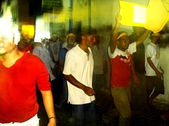 Protesters in Malé in August 2005