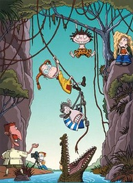 The Wild Thornberrys, left to right, Nigel (bottom left), Marianne (with camera), Eliza (with glasses), Darwin (the chimpanzee), Donnie (with brown hair), and Debbie (sitting down, bored)