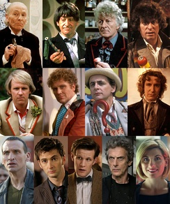 The Doctor portrayed by series leads in chronological order. Left to right from top row; William Hartnell, Patrick Troughton, Jon Pertwee, Tom Baker, Peter Davison, Colin Baker, Sylvester McCoy, Paul McGann, Christopher Eccleston, David Tennant, Matt Smith, Peter Capaldi and Jodie Whittaker.