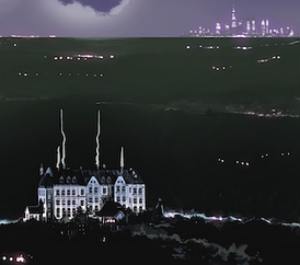 Wayne Manor with Gotham City in the distance from Detective Comics #967 (December 2017). Art by Álvaro Martínez and Raúl Fernández.