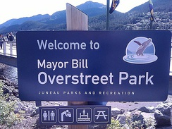 The welcome sign for Mayor Bill Overstreet Park
