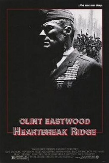 "A black poster with a portrait shot showing the upper body of an older man dressed in a military uniform. In the background are a group of soldiers. Some of them are kneeling, and some are standing, holding rifles. Above in bold white letters, is a line that reads: ""... the scars run deep."" Below, in large letters it reads: ""Clint Eastwood"" and ""Heartbreak Ridge"". Below that are the film credits."
