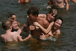 Children swimming at an Indiana church camp.