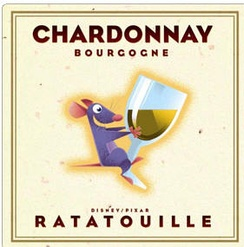 The front label of the planned Ratatouille wine to have been promoted by Disney, Pixar, and Costco, and subsequently pulled for its use of a cartoon character