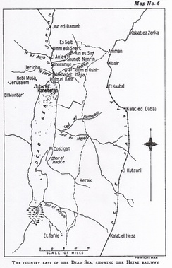 Cutlack's Map 6 The Dead Sea section of the Hejaz Railway in 1918