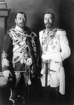 Emperor Nicholas II of Russia with his physically similar cousin, King George V of the United Kingdom (right), wearing German military uniforms in Berlin before the war; 1913
