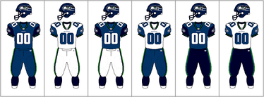 Seattle Seahawks uniform combinations, 2002–2011. A green alternate jersey was used, but only for one game of the 2009 season.