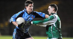 Action from the 2009 group game between University of Ulster, Jordanstown (UUJ) (blue) and Fermanagh (green)