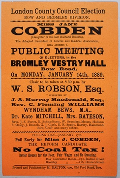 A Jane Cobden campaign poster, January 1889