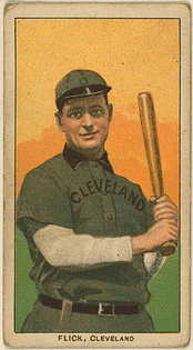 A baseball card of Flick as a member of the Cleveland Naps in 1909.