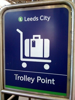 A trolley point showing the historical name of 'Leeds City' after the 2002 rebuilding