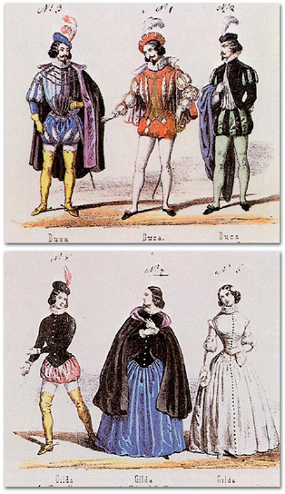 Costumes for the Duke of Mantua and Gilda published by Casa Ricordi shortly after the 1851 premiere