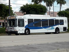 "A Broward County Transit bus in the current ""Breeze"" livery."