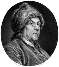 Franklin, in his fur hat, charmed the French with what they perceived as rustic New World genius.[Note 2]