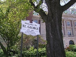 Borough Hall in the St. George neighborhood of Staten Island, the most suburban borough of New York City.
