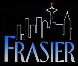 "The title caption has the similar ""FRASIER"" logo, black background, and line drawing of Downtown Seattle. Each episode has a different animated gag. The above gag from the pilot episode, ""The Good Son"", has a lit antenna spire at the observation tower, Space Needle, one of Seattle's landmarks."