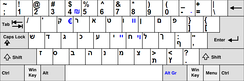 An example of a Hebrew keyboard.