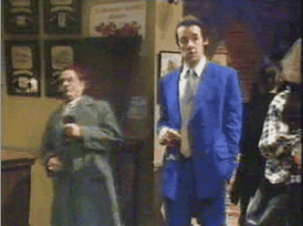 "Del Boy's fall through an open bar-flap in ""Yuppy Love"" (BBC video clip) is one of the show's best known moments."