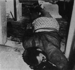 Body of Fred Hampton, national spokesman for the Black Panther Party, who was murdered[65][66][67] by members of the Chicago Police Department, as part of a COINTELPRO operation.[68][15]