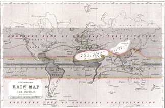 "This ""Hyetographic or Rain Map of the World "" was first published 1848 by Alexander Keith Johnston."