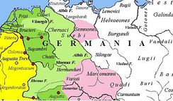 Magna Germania in AD 9. The yellow legend represents the areas controlled by the Roman Republic in 31 BC, the shades of green represent gradually conquered territories under the reign of Augustus, and pink areas on the map represent tributary tribes.
