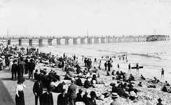 A busy day on the beach, 1880