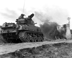 The M4A3R3 variant of the Sherman tank on exercise in Korea