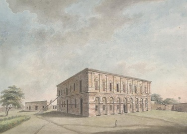Opium storehouse in Patna. Under British East India Company's rule, by the 1850s, opium constituted 40% of India's exports.[464]