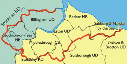 The Commission's Proposals for the new county borough. The boundary of Teesside shown in red, and those of existing authorities as dashed lines. Yorkshire is coloured yellow and Durham in green.