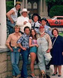 Cast of The Dukes of Hazzard (from left): (bottom) John Schneider, Tom Wopat, Catherine Bach, Denver Pyle, Peggy Rea; (top) Ben Jones, Sorrell Booke, James Best, Sonny Shroyer