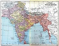 The Indian Empire in 1893 after the annexation of Upper Burma and incorporation of Baluchistan.