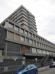 A view of Zodiac Court in West Croydon, the filming location of Jeremy and Mark's flat. Called Apollo House in the series.
