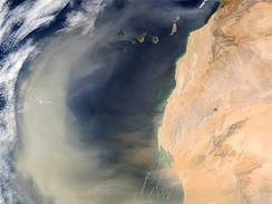 An intense Saharan dust storm sent a massive dust plume northwestward over the Atlantic Ocean on 2 March 2003