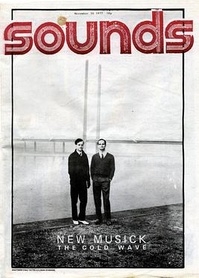 "The front cover of Sounds with the caption ""New musick:  The cold wave"", issue 26 November 1977: it is a picture of Ralf Hütter and Florian Schneider of Kraftwerk."
