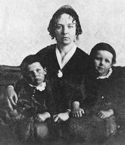 Elizabeth Cady Stanton in 1848 with two of her three sons