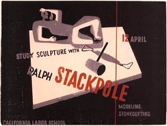 Artist Louise Gilbert rendered this flyer advertising a sculpture class Stackpole was to give in 1945 at the California Labor School.