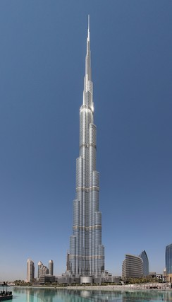 Completed in 2009, the Burj Khalifa, in Dubai (United Arab Emirates), is currently[update] the tallest skyscraper in the world, with a height of 829.8 metres (2,722 ft). The setbacks at various heights are a typical skyscraper feature.