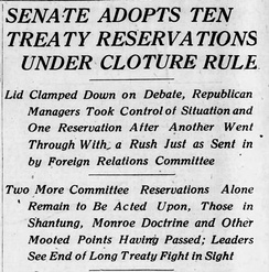 Headline in The Philadelphia Inquirer of November 16, 1919, reporting the first use of cloture by the United States Senate.