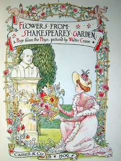 An illustration from Walter Crane's 1906 book, Flowers from Shakespeare's Garden: a Posy from the Plays