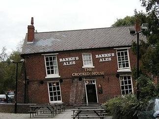 Subsided house, called The Crooked House, the result of 19th-century mining subsidence in Staffordshire, England