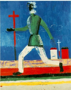 "One of the interpretations of The Running Man painting by Kazimir Malevich, also known as Peasant Between a Cross and a Sword, is the artist's indictment of the Great Famine.[103] ""Kasimir Malevich's haunting 'The Running Man' (1933–34), showing a peasant fleeing across a deserted landscape, is eloquent testimony to the disaster.""[104]"
