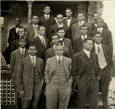 Group Photograph of Alpha Phi Alpha Fourth Annual Convention 1912, Elected President Charles H. Garvin on bottom right hand corner
