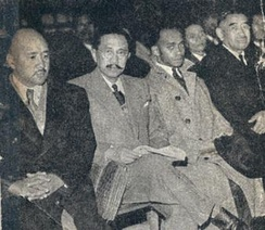 Trial of former deputies Ravoahangy, Raseta and Rabemananjara (far left to right)