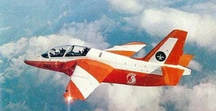 RSAF 130Sqn's S.211 (9V-382) in flight circa 1988, this aircraft was subsequently written off after an accident in 2006