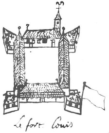 Drawing of Fort Louis de la Louisiane from map of 1704-1705
