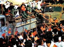 10 years of the Vietnamese occupation of Kampuchea officially ended on 26 September 1989, when the last remaining contingent of Vietnamese troops were pulled out. The departing Vietnamese soldiers received much publicity and fanfare as they moved through Phnom Penh, the capital of Kampuchea.