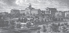 An 1880 print of the seminary campus, depicting the Sage Library (left center), Hertzog Hall (center), and Suydam Hall (right center)