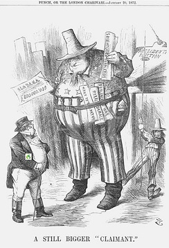 "John Bull (Great Britain) is dwarfed by a gigantic inflated American ""Alabama Claim"" cartoon by Joseph Swain in Punch--or the London Charivari 22 Jan 1872."