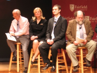 The candidates (left to right) Chris Shays, Diane Farrell, Phil Maymin, Richard Duffee
