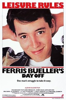 "The poster shows a young man smiling with his hands behind his head with the tagline, ""Leisure Rules"" being on the top of the poster. The film's title, the rating and production credits appear at the bottom of the poster."